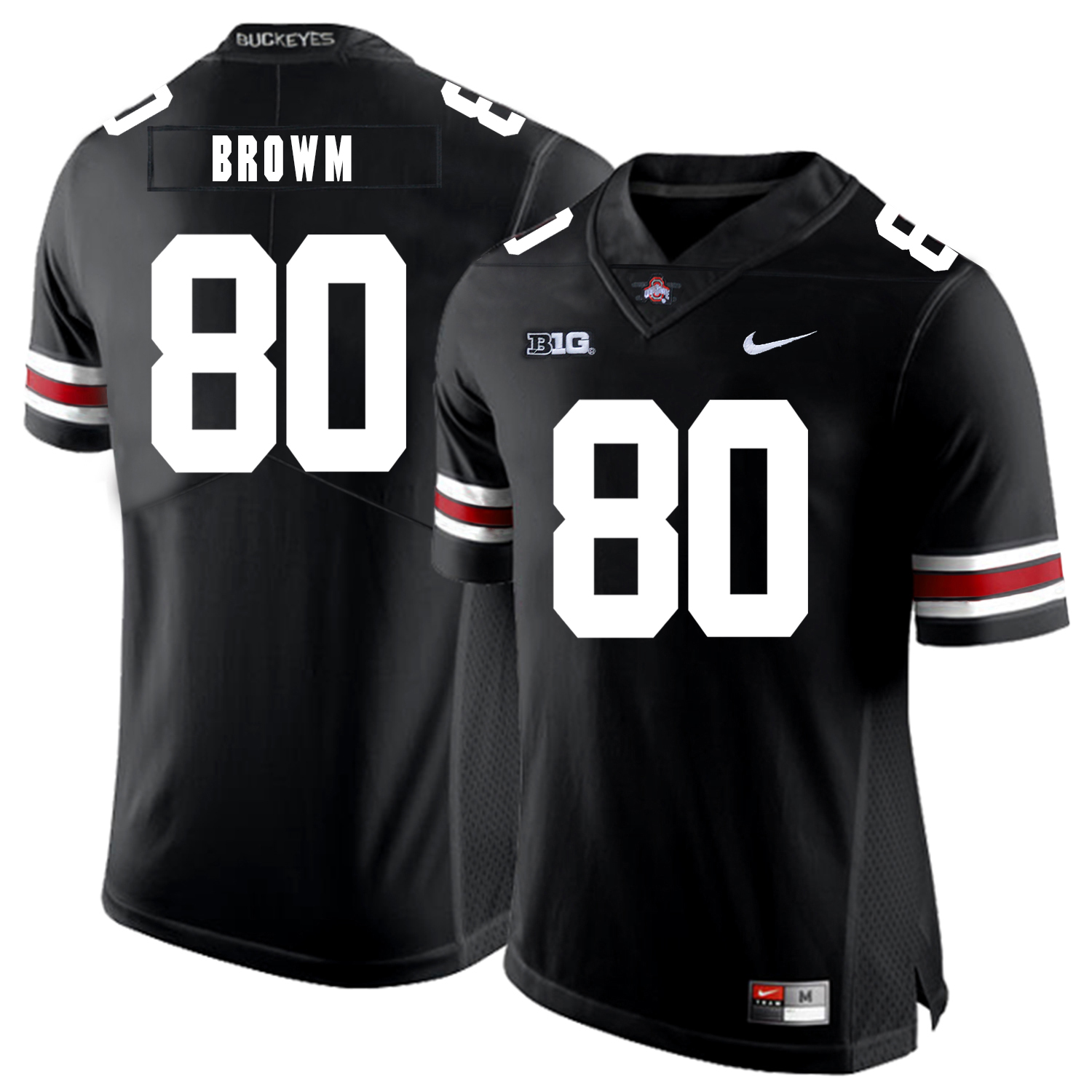 Ohio State Buckeyes 80 Noah Brown Black Nike College Football Jersey