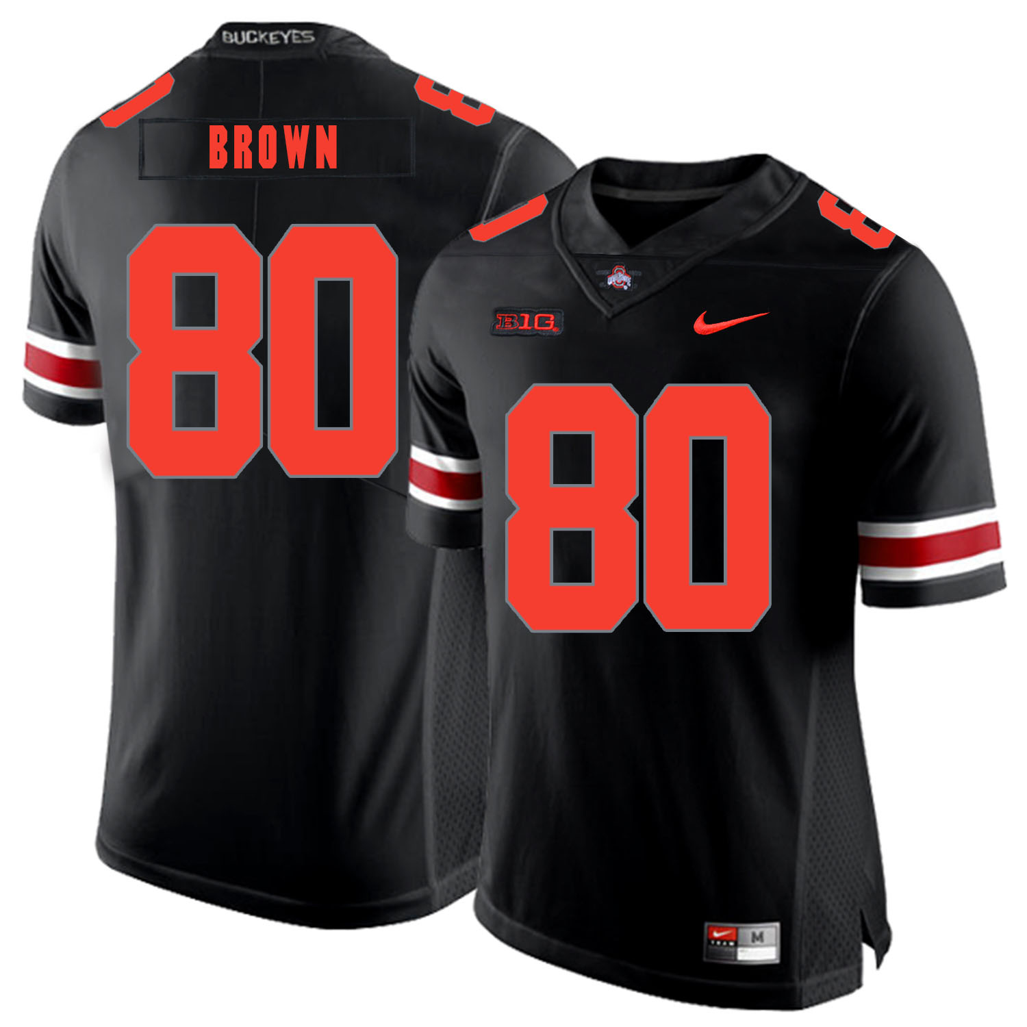 Ohio State Buckeyes 80 Noah Brown Black Shadow Nike College Football Jersey