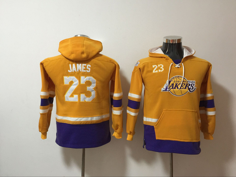 Lakers 23 Lebron James Gold Youth All Stitched Hooded Sweatshirt