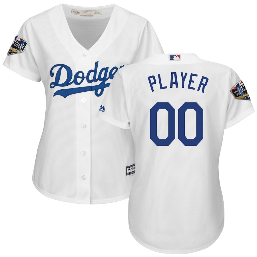 Dodgers White Women's 2018 World Series Flexbase Customized Jersey