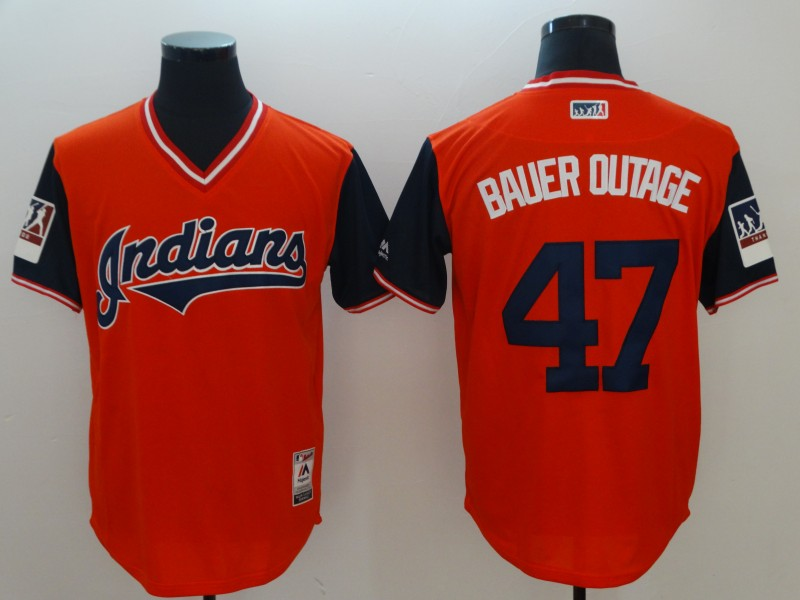 Indians 47 Trevor Bauer Bauer Outage Orange 2018 Players' Weekend Authentic Team Jersey