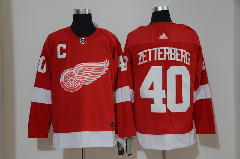 Red Wings 40 Henrik Zetterberg Red Adidas Jersey