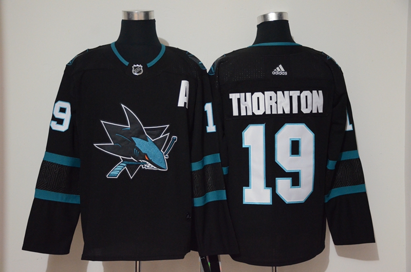 Sharks 19 Joe Thornton Black Adidas Jersey