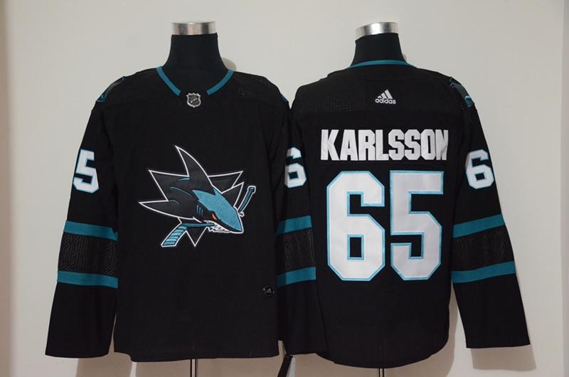 Sharks 65 Erik Karlsson Black Adidas Jersey