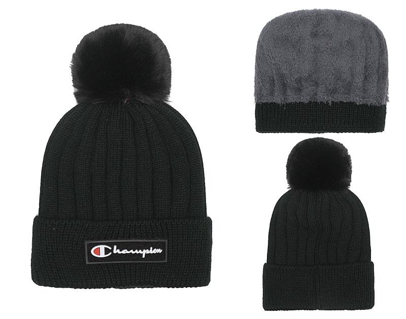 Champion Fresh Logo Black Fashion Knit Hat SG