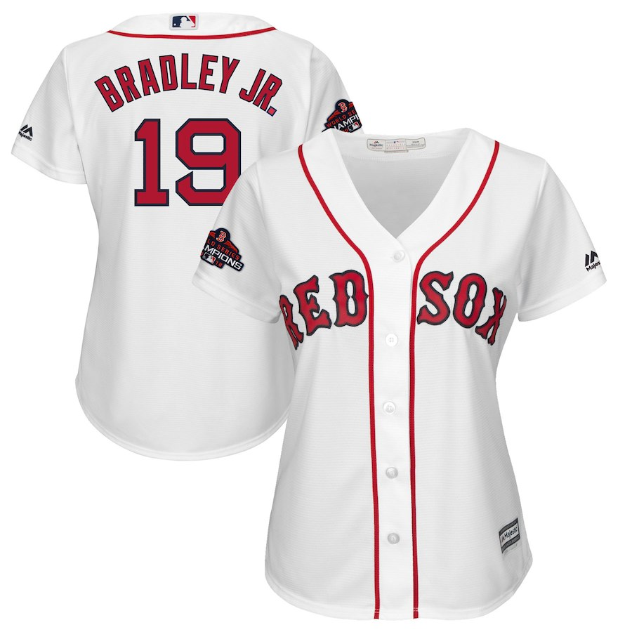 Red Sox 19 Jackie Bradley Jr. White Women 2018 World Series Champions Team Logo Player Jersey