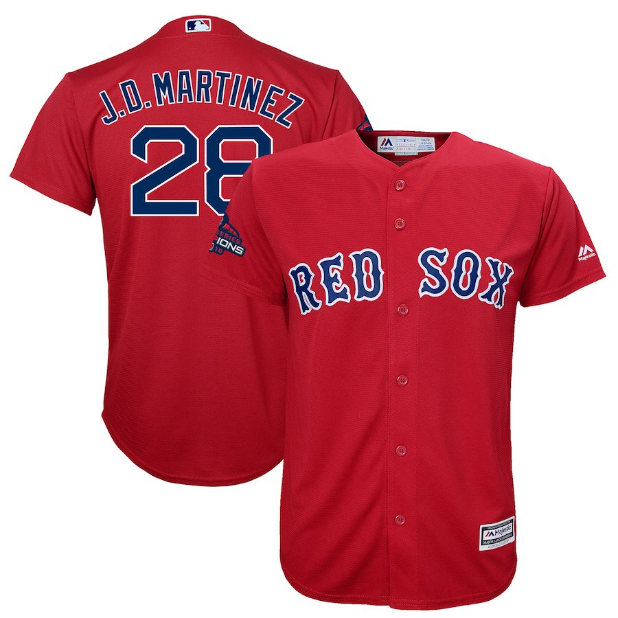 Red Sox 28 J.D. Martinez Scarlet Youth 2018 World Series Champions Team Logo Player Jersey
