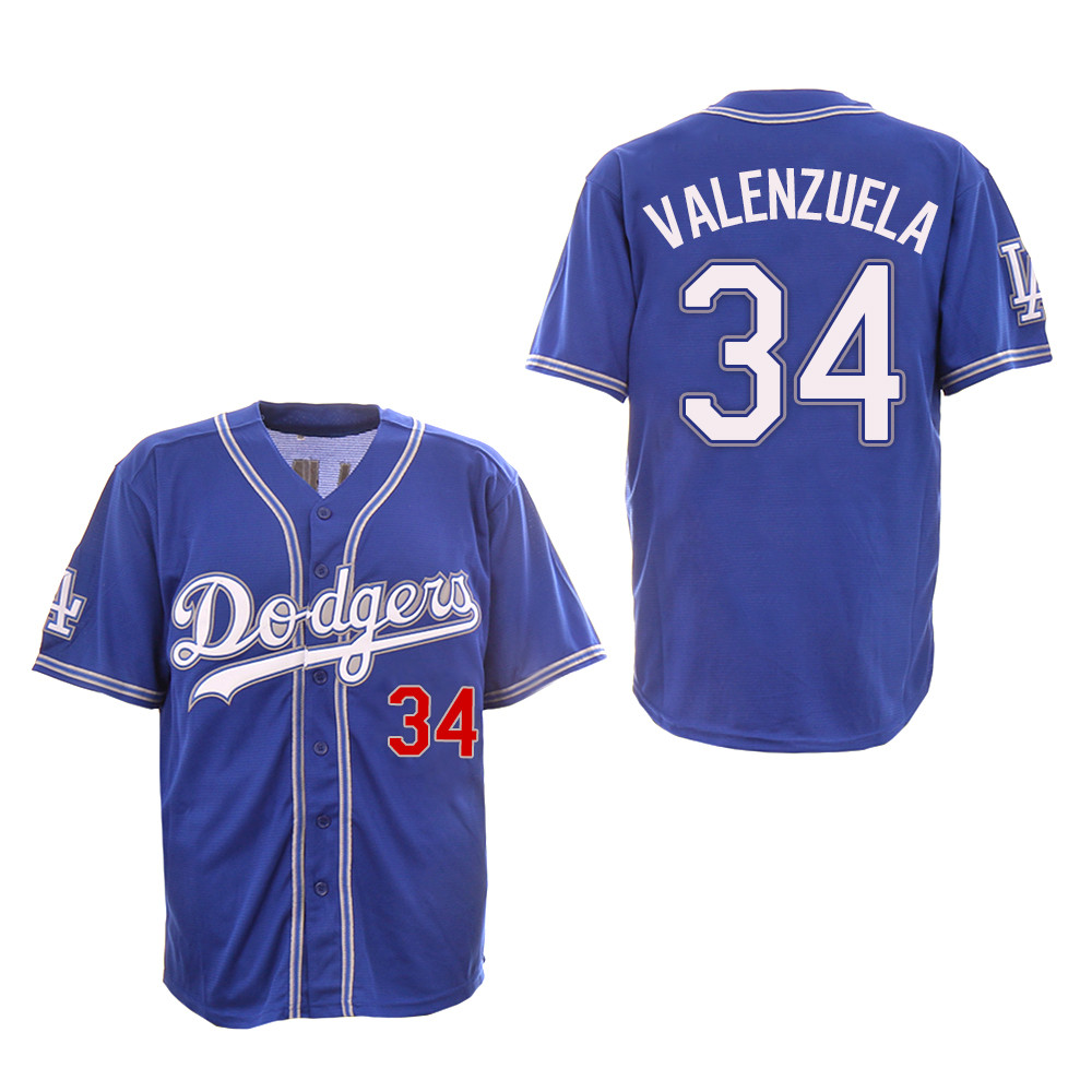 Dodgers 34 Fernando Valenzuela Royal New Design Jersey