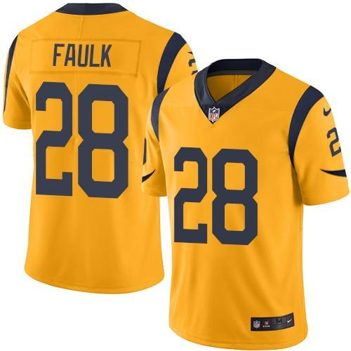 Nike Rams 28 Marshall Faulk Gold Youth Color Rush Limited Jersey