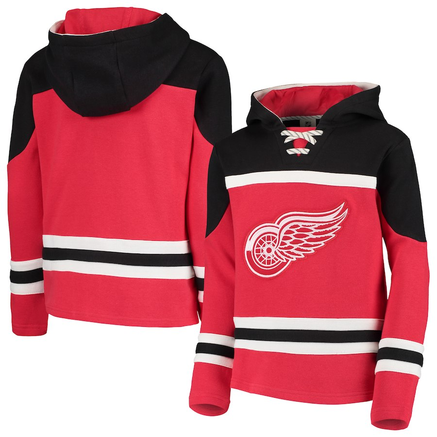 Detroit Red Wings Red Men's Customized All Stitched Hooded Sweatshirt