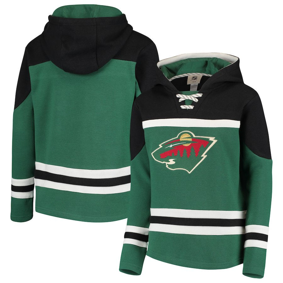 Minnesota Wild Green Men's Customized All Stitched Hooded Sweatshirt