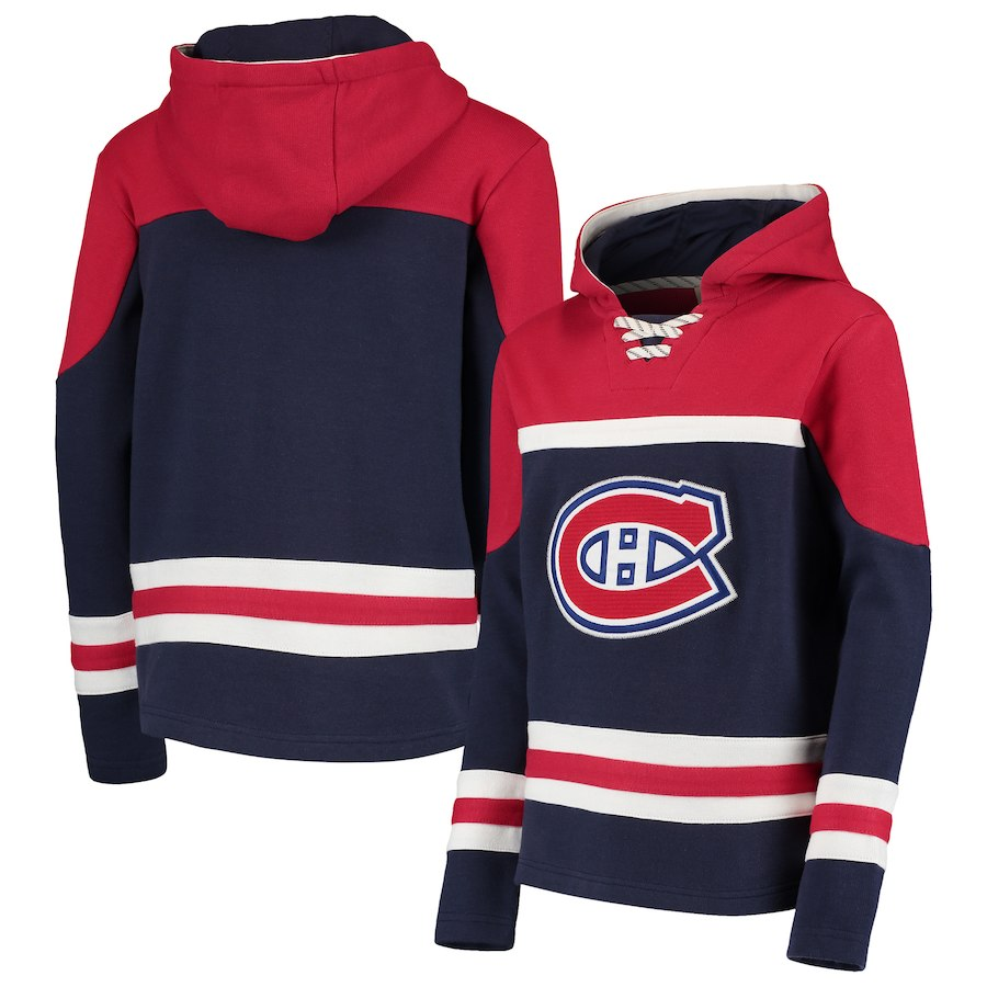 Montreal Canadiens Navy Men's Customized All Stitched Hooded Sweatshirt