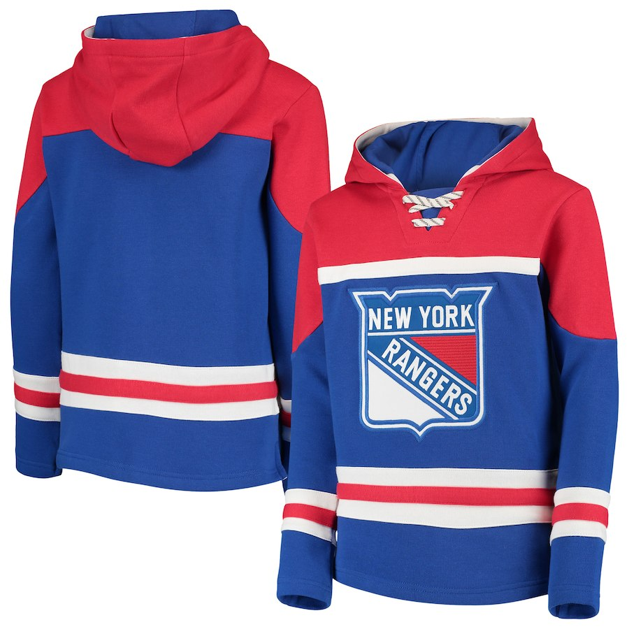 New York Rangers Blue Men's Customized All Stitched Hooded Sweatshirt