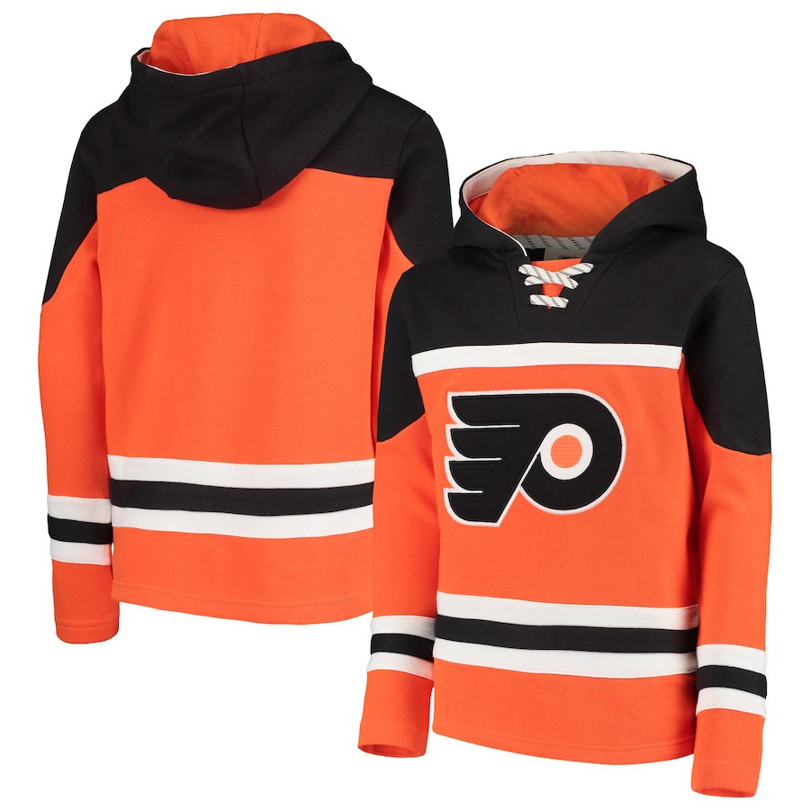 Philadelphia Flyers Orange Men's Customized All Stitched Hooded Sweatshirt