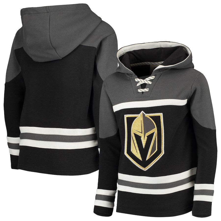 Vegas Golden Knights Black Men's Customized All Stitched Hooded Sweatshirt
