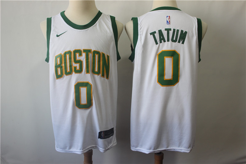 Celtics 0 Jayson Tatum White City Edition Nike Swingman Jersey