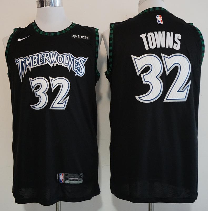 Timberwolves 32 Karl-Anthony Towns Black Nike Hardwood Classics Swingman Jersey