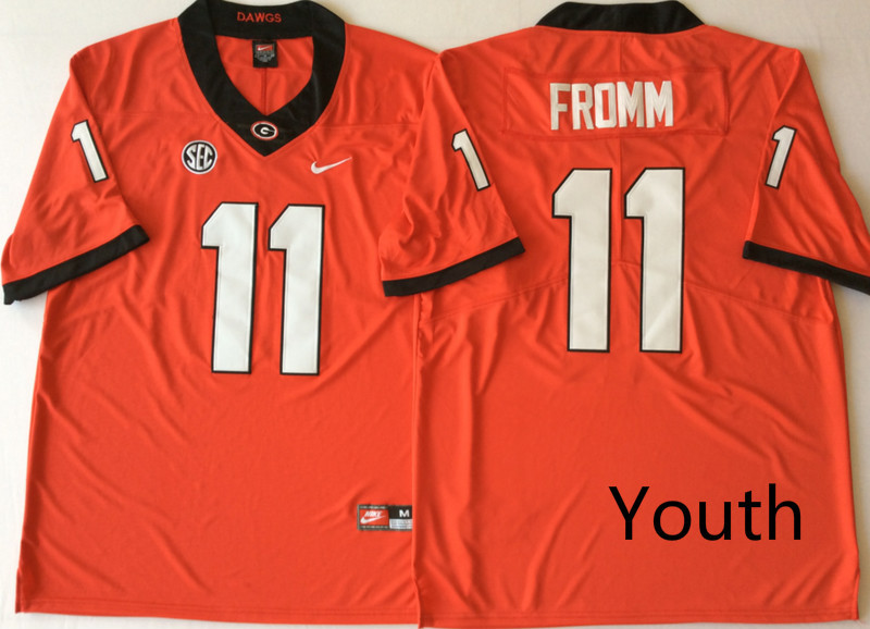 Georgia Bulldogs 11 Jake Fromm Red Youth Nike College Football Jersey