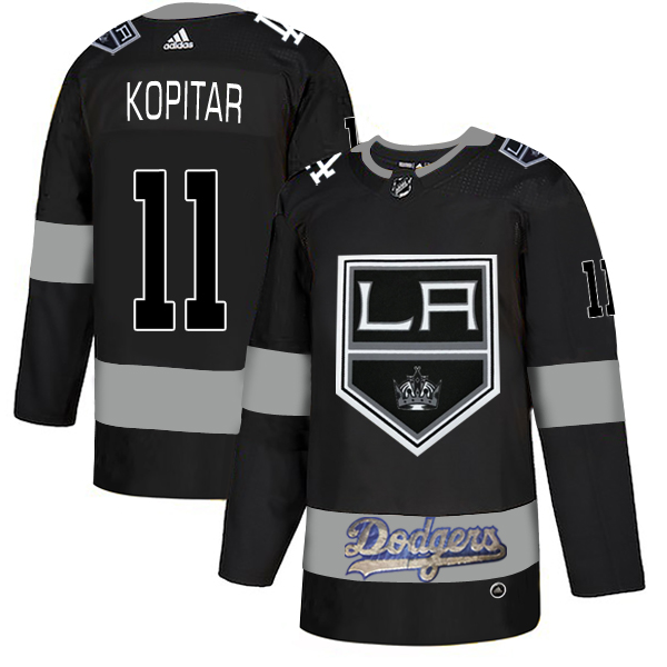 LA Kings With Dodgers 11 Anze Kopitar Black Adidas Jersey