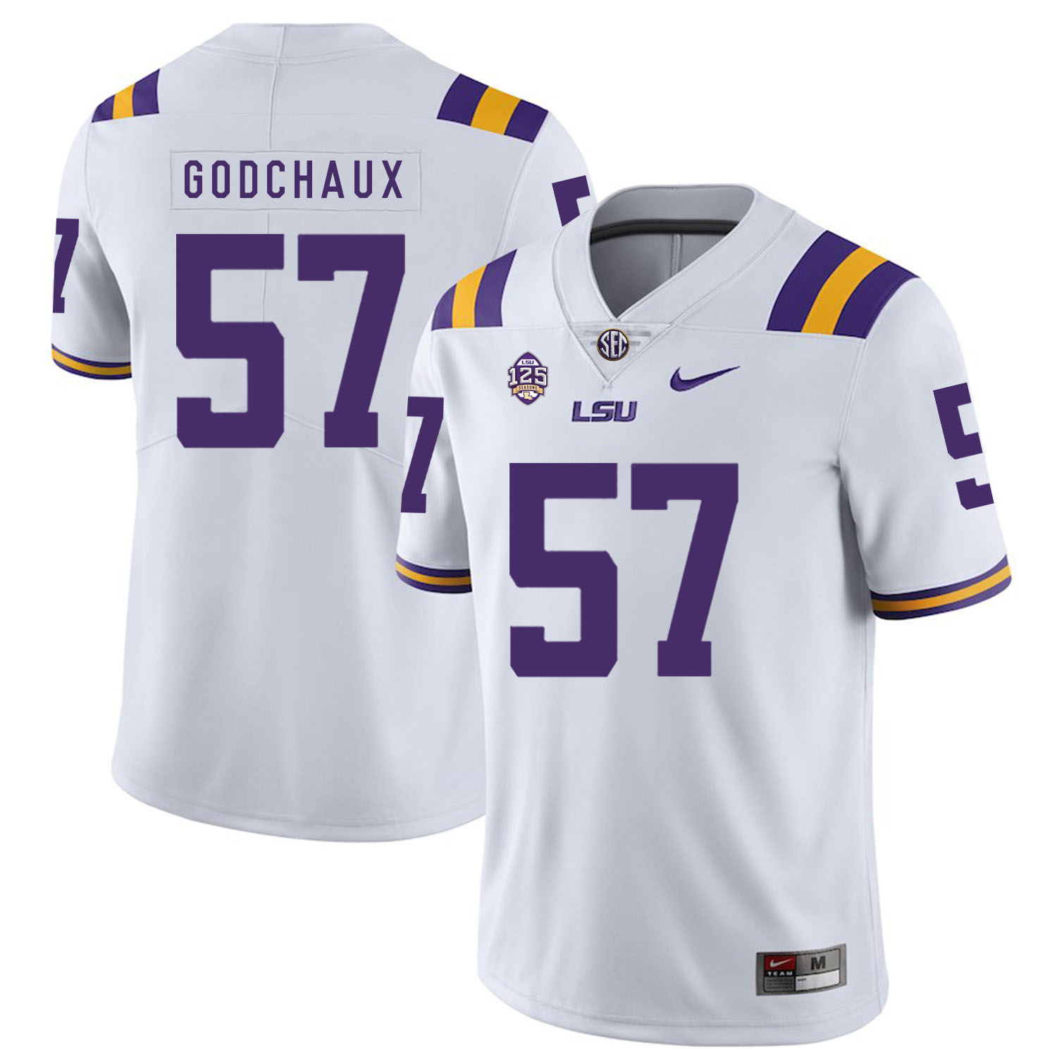 LSU Tigers 57 Davon Godchaux White Nike College Football Jersey