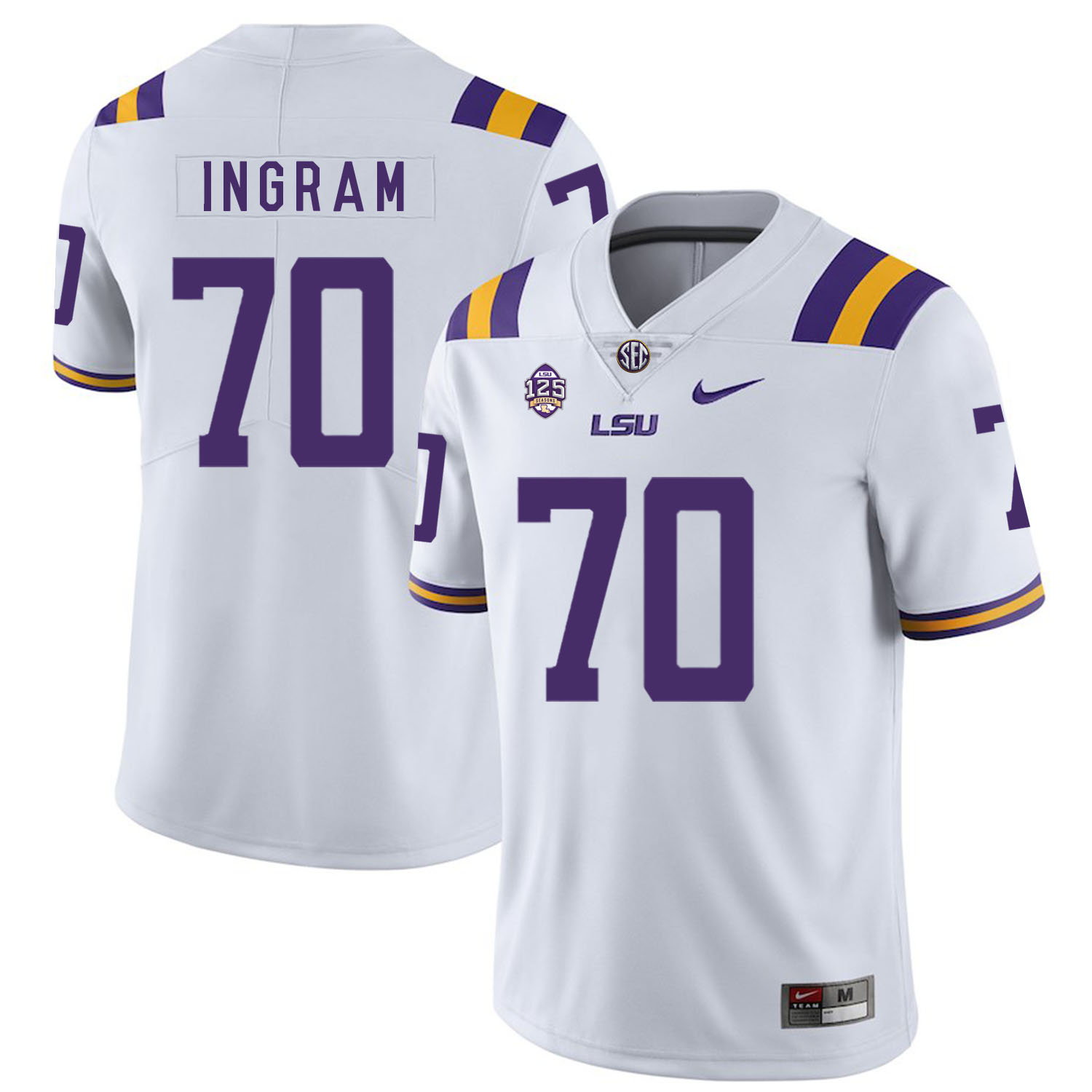 LSU Tigers 70 Edward Ingram White Nike College Football Jersey