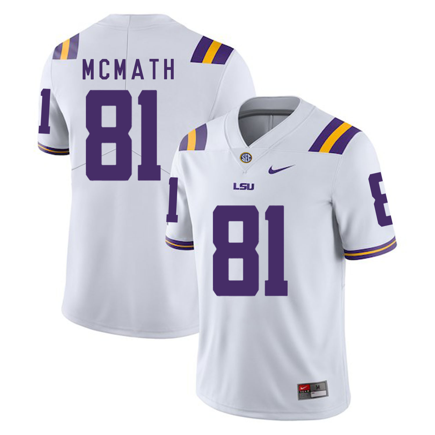 LSU Tigers 81 Racey Mcmath White Nike College Football Jersey