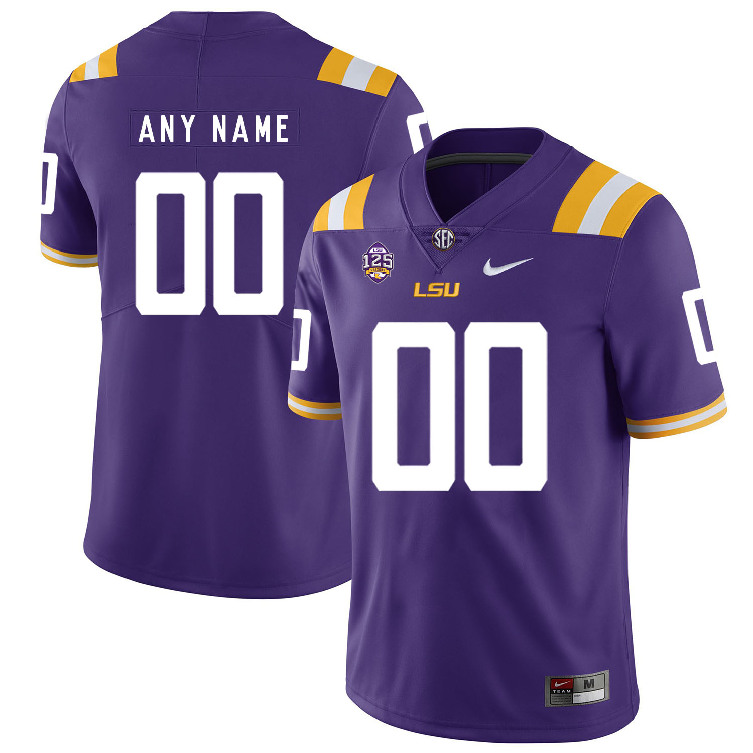 LSU Tigers Purple Men's Customized Nike College Football Jersey