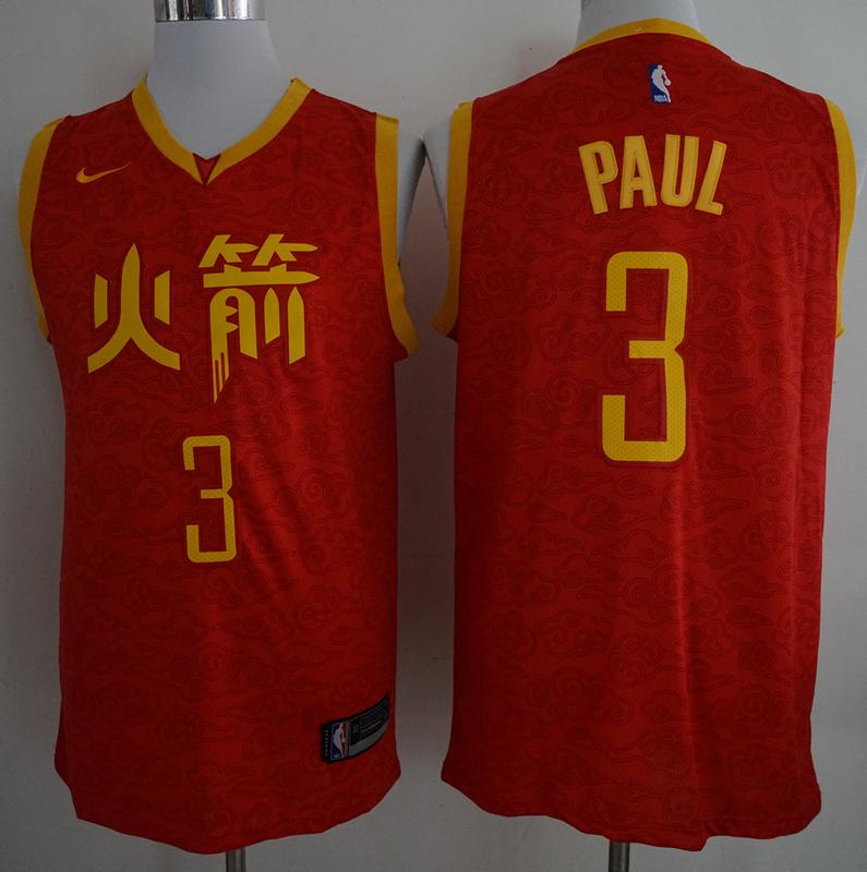 Rockets 3 Chris Paul Red 2018-19 Nike City Edition Nike Swingman Jersey
