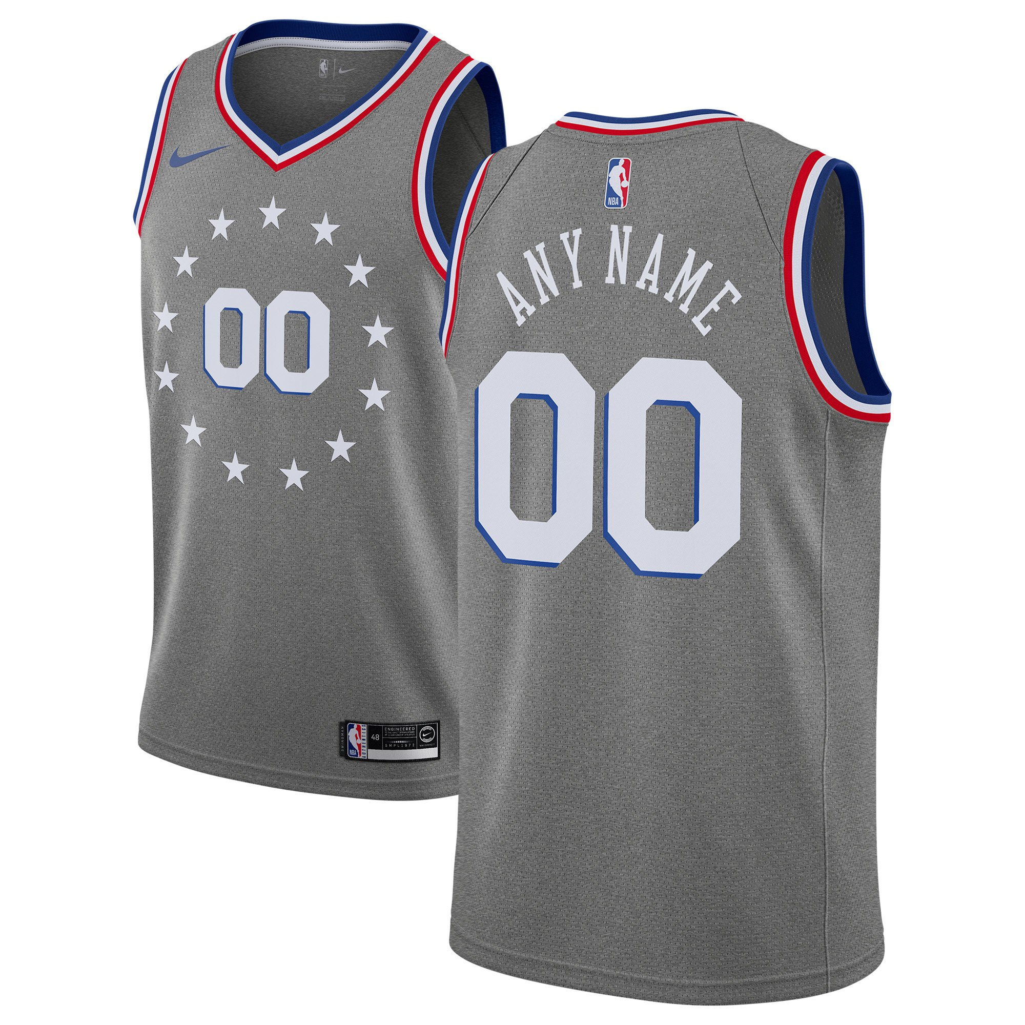 Philadelphia 76ers Charcoal Men's Customized Nike Swingman Jersey