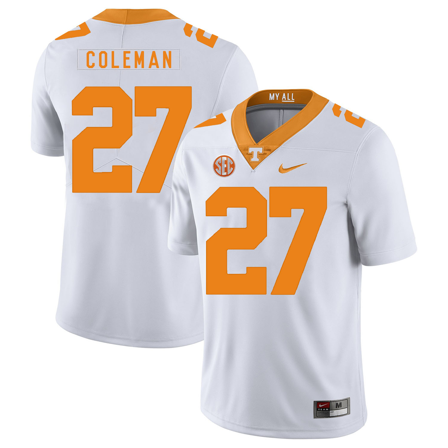 Tennessee Volunteers 27 Justin Coleman White Nike College Football Jersey