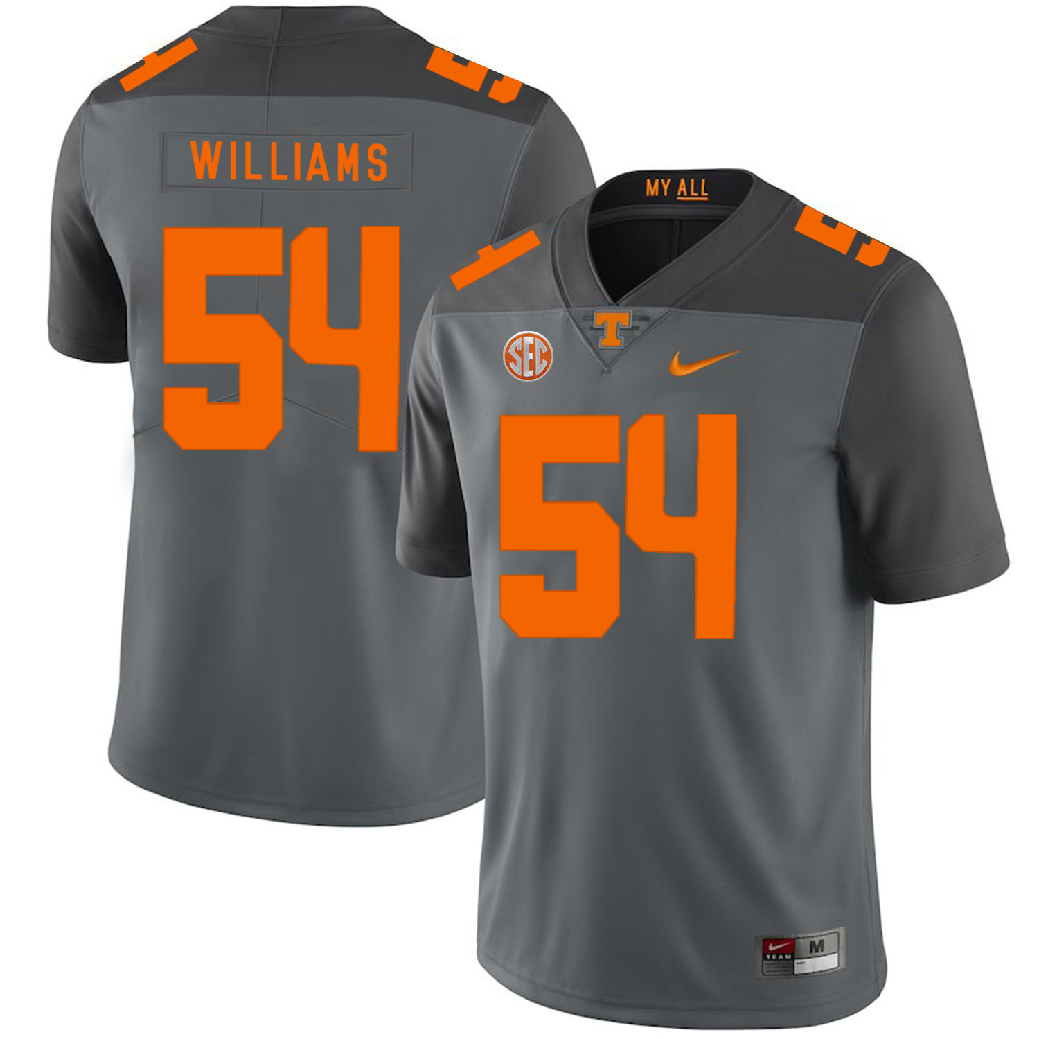 Tennessee Volunteers 54 Jordan Williams Gray Nike College Football Jersey