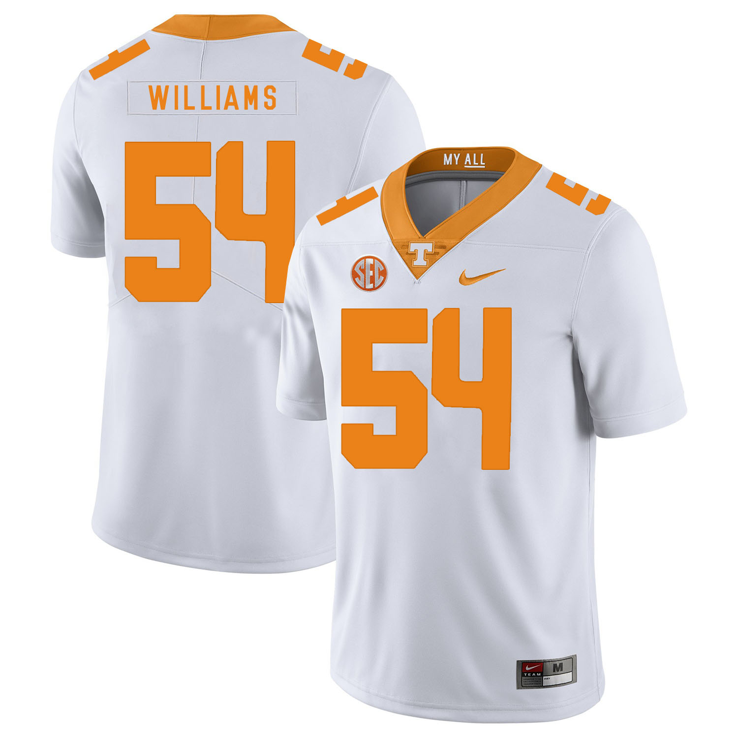 Tennessee Volunteers 54 Jordan Williams White Nike College Football Jersey