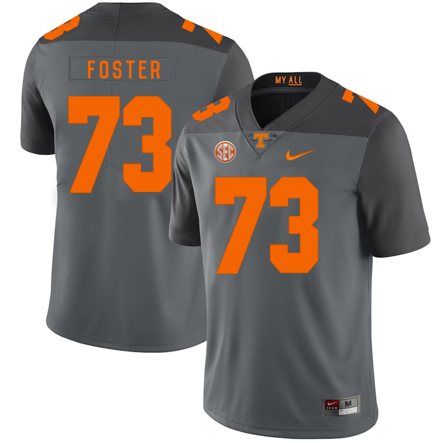 Tennessee Volunteers 73 Ramon Foster Gray Nike College Football Jersey