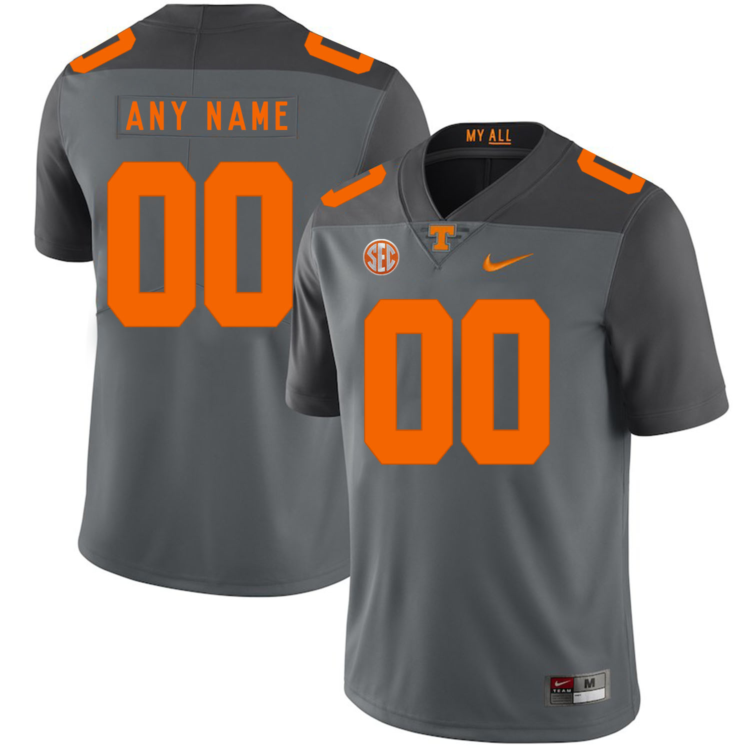 Tennessee Volunteers Gray Men's Customized Nike College Football Jersey
