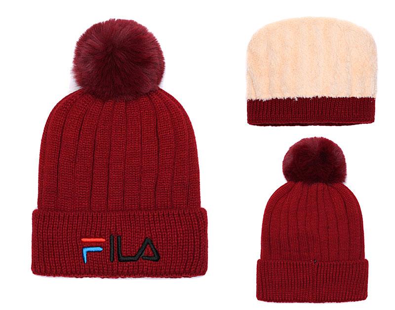 Fila Fresh Logo Burgundy Fashion Sport Knit Hat SG