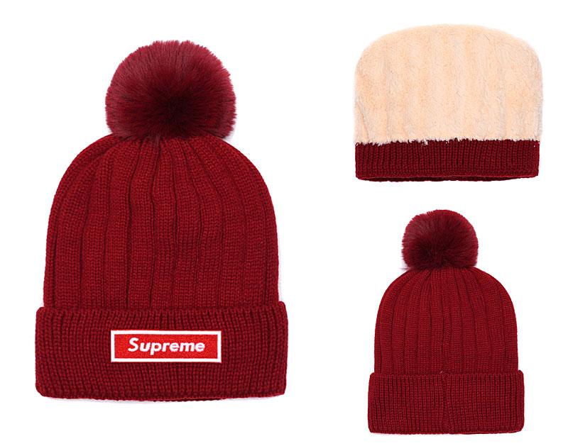 Supreme Fresh Logo Burgundy Fashion Sport Knit Hat SG