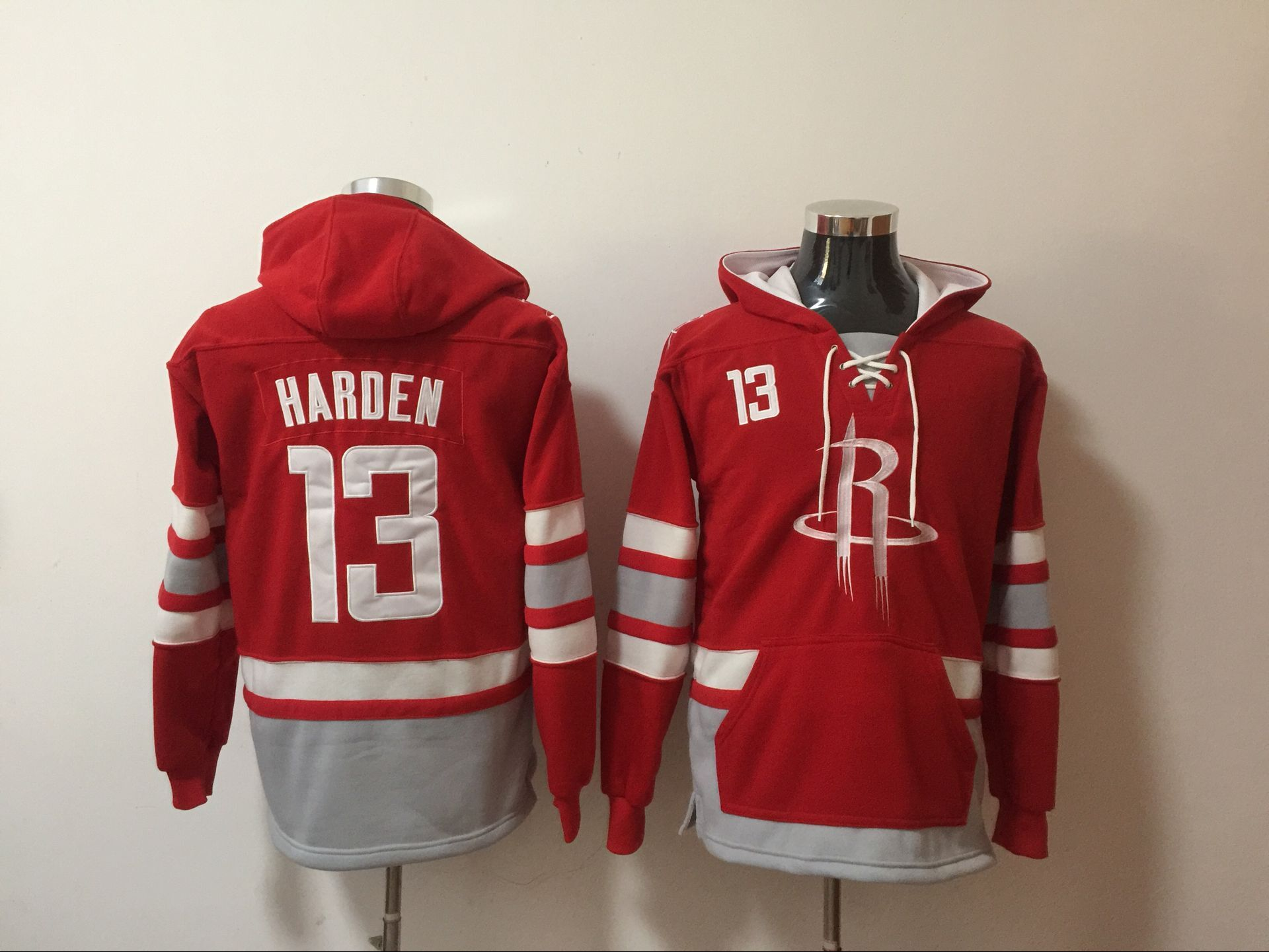 Rockets 13 James Harden Red All Stitched Hooded Sweatshirt