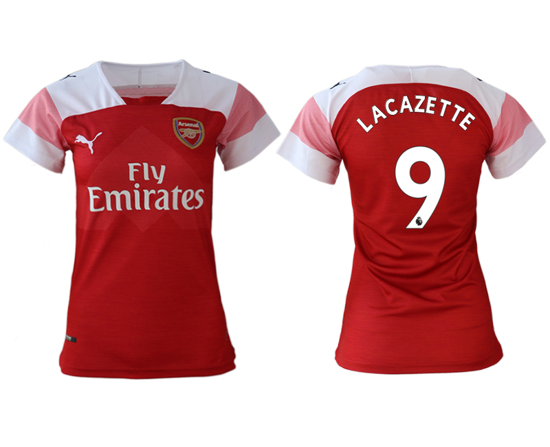 2018-19 Arsenal 9 LACAZETTE Home Women Soccer Jersey