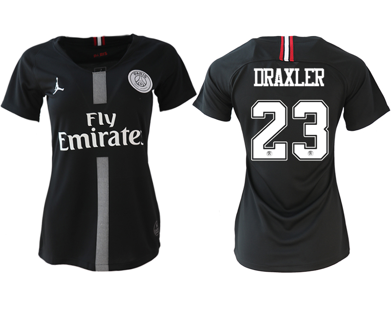2018-19 Paris Saint-Germain 23 DRAXLER Jordan Champions League Black Women Soccer Jersey
