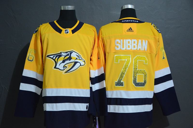 Predators 76 P.K. Subban Yellow Drift Fashion Adidas Jersey