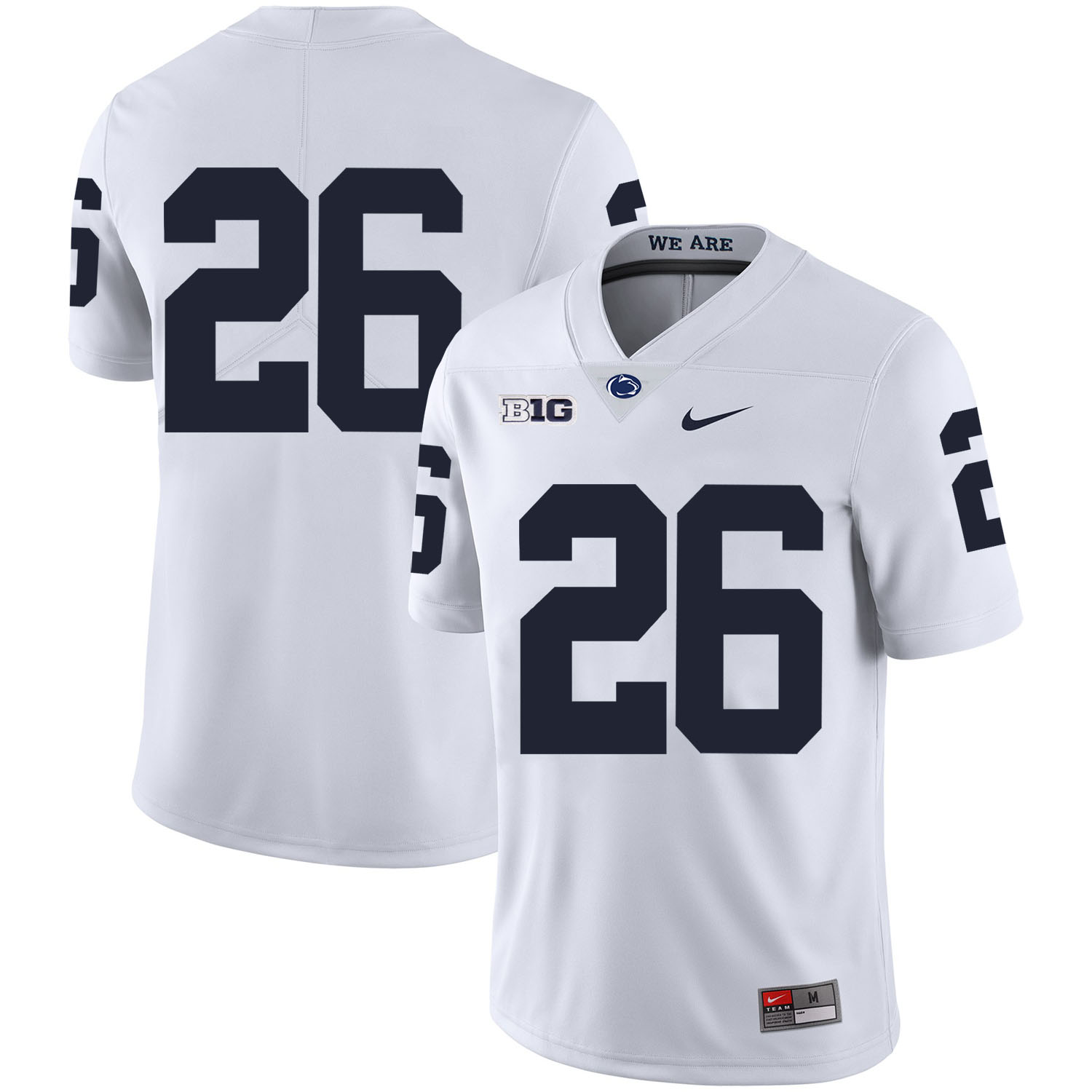 Penn State Nittany Lions 26 Saquon Barkley White Nike College Football Jersey