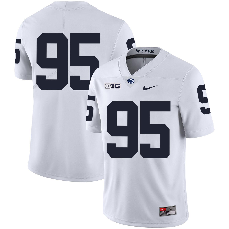 Penn State Nittany Lions 95 Tyler Davis White Nike College Football Jersey