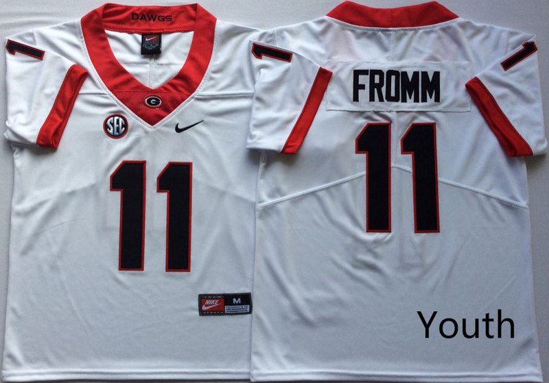 Georgia Bulldogs 11 Jake Fromm White Youth Nike College Football Jersey