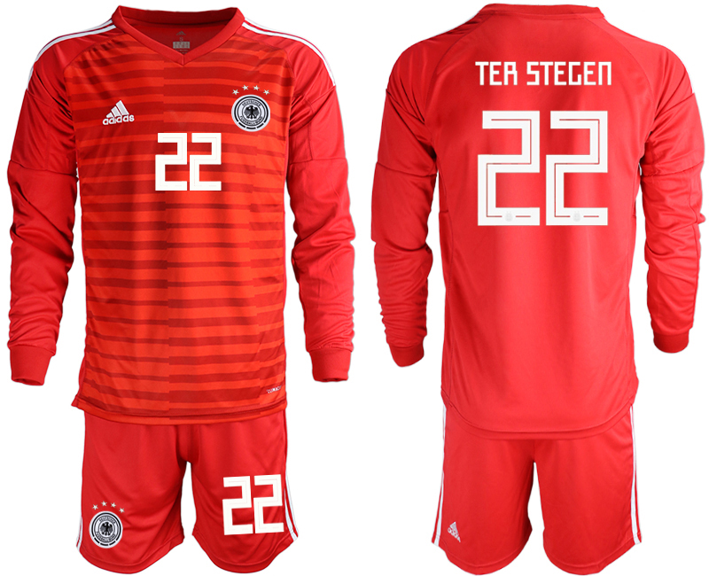 2018-19 Germany 22 TER STEGEN Red Long Sleeve Goalkeeper Soccer Jersey