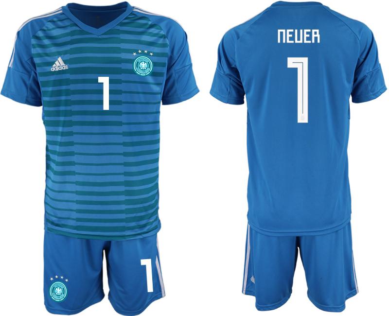 2018-19 Germany 1 NEUER Blue Goalkeeper Soccer Jersey