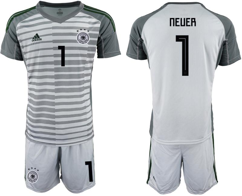 2018-19 Germany 1 NEUER Gray Goalkeeper Soccer Jersey