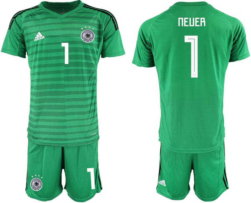 2018-19 Germany 1 NEUER Green Goalkeeper Soccer Jersey
