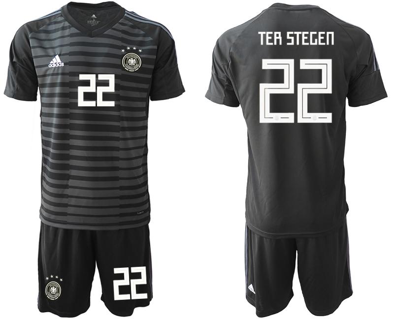 2018-19 Germany 22 TER STEGEN Black Goalkeeper Soccer Jersey