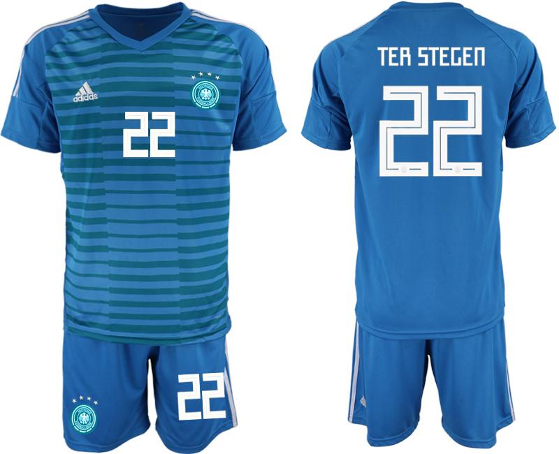 2018-19 Germany 22 TER STEGEN Blue Goalkeeper Soccer Jersey