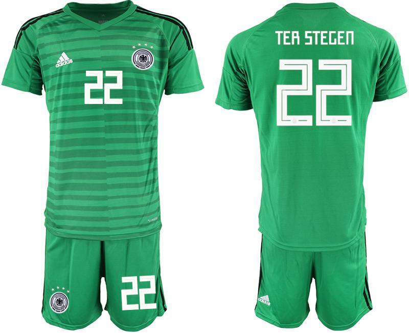 2018-19 Germany 22 TER STEGEN Green Goalkeeper Soccer Jersey